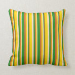 [ Thumbnail: Bisque, Yellow, Chocolate & Forest Green Stripes Throw Pillow ]