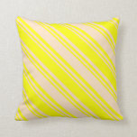 [ Thumbnail: Bisque & Yellow Colored Lines Pattern Throw Pillow ]