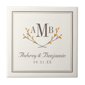 Bissful Branches Monogram Tile