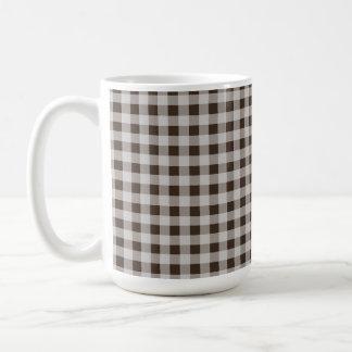 Bistre Brown Gingham; Checkered Coffee Mug