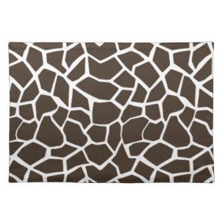 Bistre Brown Giraffe Animal Print Placemat