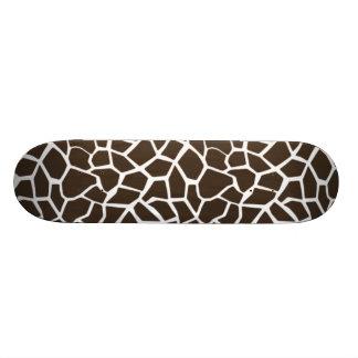 Bistre Brown Giraffe Animal Print Skate Board Deck
