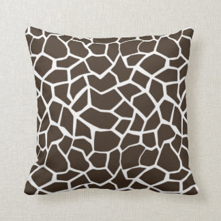 Bistre Brown Giraffe Animal Print Throw Pillow