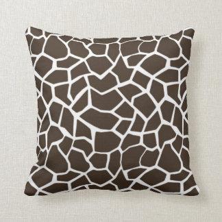 Bistre Brown Giraffe Animal Print Throw Pillow