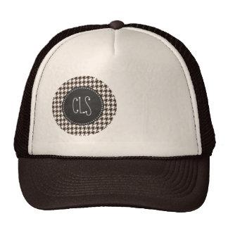 Bistre Brown Houndstooth; Vintage Chalkboard Mesh Hat