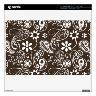 Bistre Brown Paisley Decal For MacBook