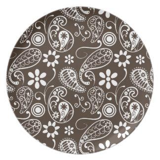 Bistre Brown Paisley Melamine Plate