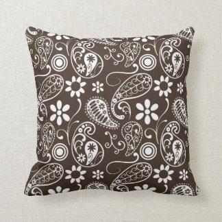 Bistre Brown Paisley Throw Pillow