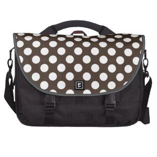 Bistre Brown Polka Dots Laptop Computer Bag
