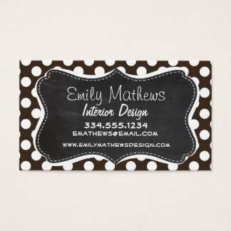 Bistre Brown Polka Dots; Retro Chalkboard Business Card