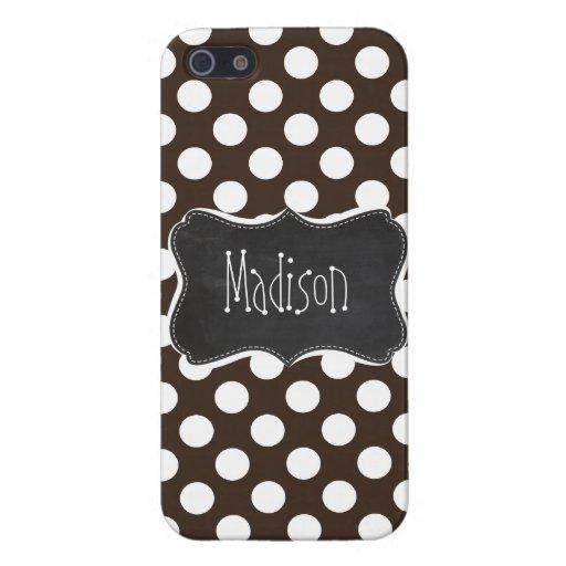 Bistre Brown Polka Dots; Retro Chalkboard iPhone 5 Covers