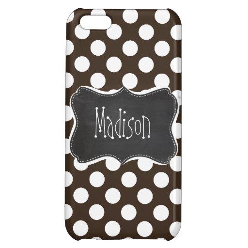 Bistre Brown Polka Dots; Retro Chalkboard iPhone 5C Covers