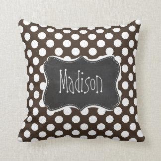 Bistre Brown Polka Dots; Retro Chalkboard Pillow