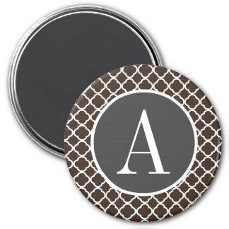 Bistre Brown Quatrefoil 3 Inch Round Magnet