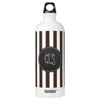 Bistre Brown Stripes; Striped; Chalkboard Water Bottle