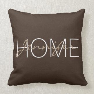 Bistre color home monogram throw pillow