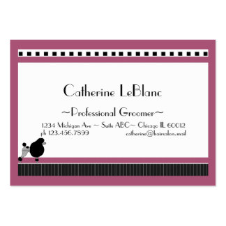 Bistro Poodle in Black White and Pink Large Business Cards (Pack Of 100)