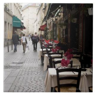 Bistros en París 2 Azulejo Cuadrado Grande