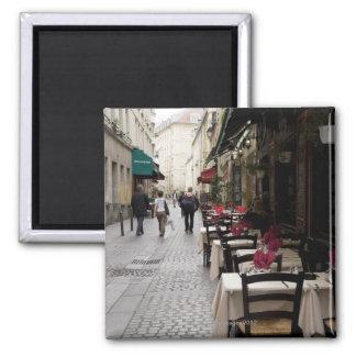Bistros en París 2 Imán Cuadrado