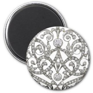 Bisutería afiligranada del vintage del diamante de imán redondo 5 cm