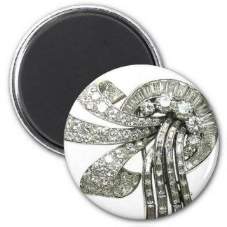 Bisutería de los diamantes artificiales del vintag imán redondo 5 cm