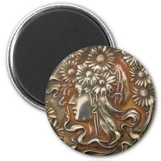 Bisutería de plata de señora Art Nouveau Vintage Imán Redondo 5 Cm