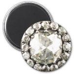 Bisutería del vintage del diamante artificial del  imán redondo 5 cm