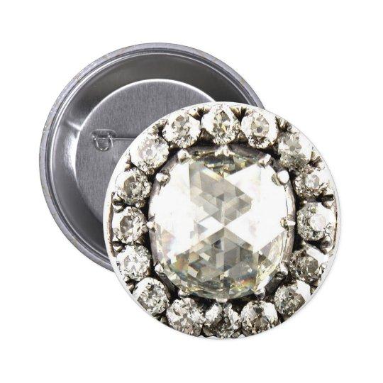 Bisutería del vintage del diamante artificial del  pin redondo de 2 pulgadas