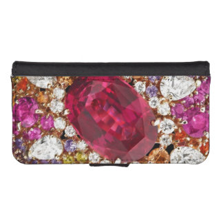 Bisutería rosada de los diamantes de los diamantes funda tipo billetera para iPhone 5