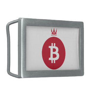 Bit coin (red) rectangular belt buckles