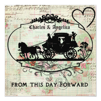 """Bit of Floral From This Day Forward Wedding Invite 5.25"""" Square Invitation Card"""