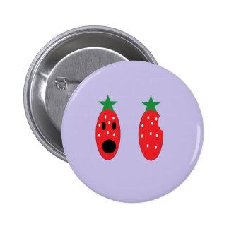 bit strawberry pinback button