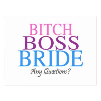 Bitch Boss Bride Any Questions? 2 Postcard