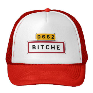 Bitche, Road Sign, France Mesh Hat