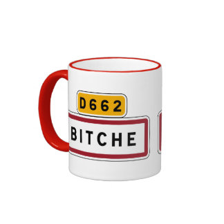 Bitche, Road Sign, France Ringer Coffee Mug