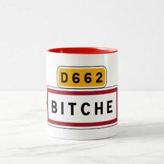 Bitche, Road Sign, France Two-Tone Coffee Mug