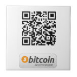 Bitcoin Accepted Here Small Square Tile