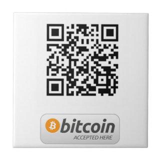 Bitcoin aceptó aquí azulejo cuadrado pequeño