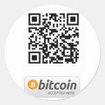 Bitcoin aceptó aquí pegatina redonda
