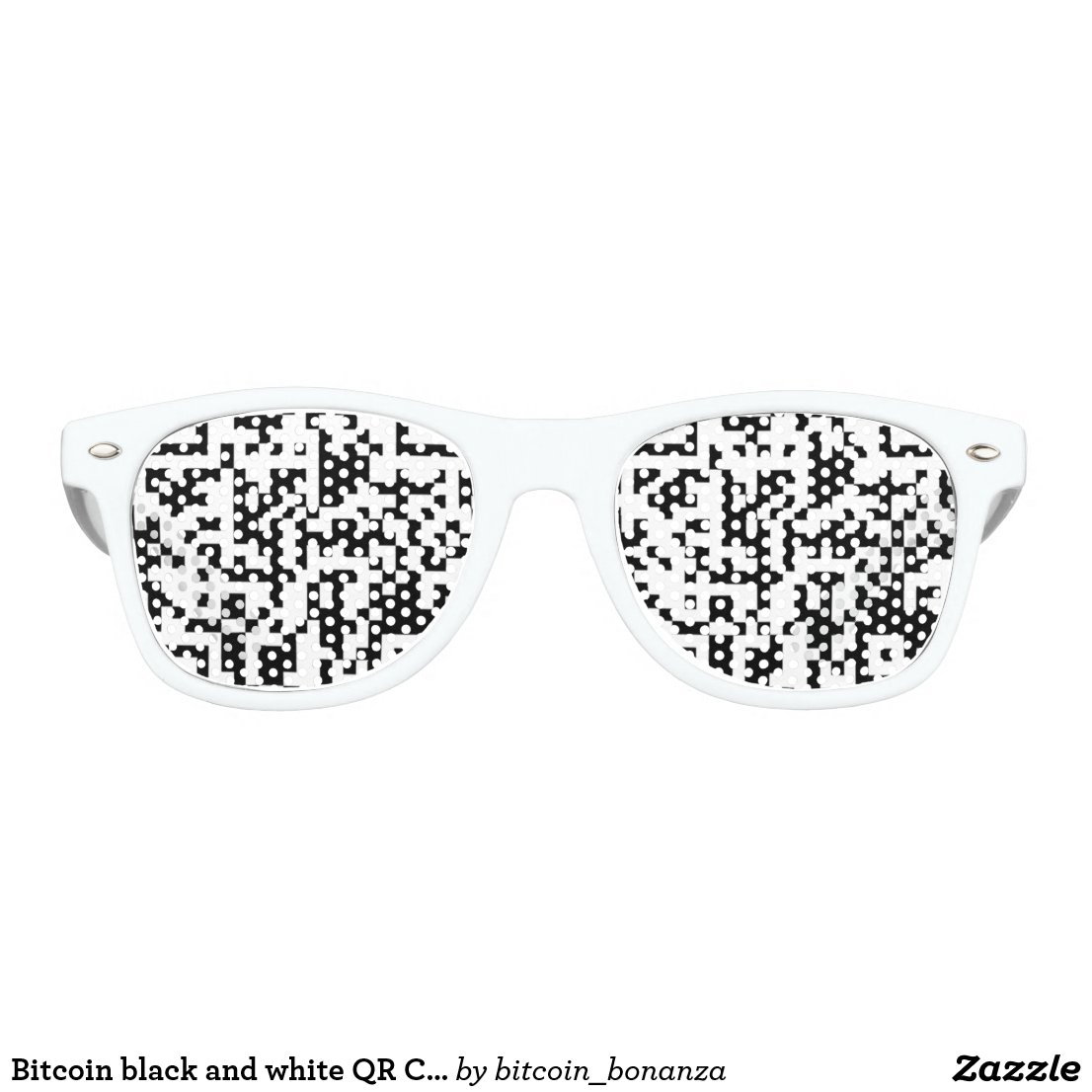 Bitcoin black and white QR Code Retro Sunglasses