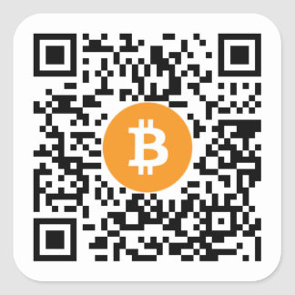 Bitcoin (BTC) Wallet QR Code Sticker - Square