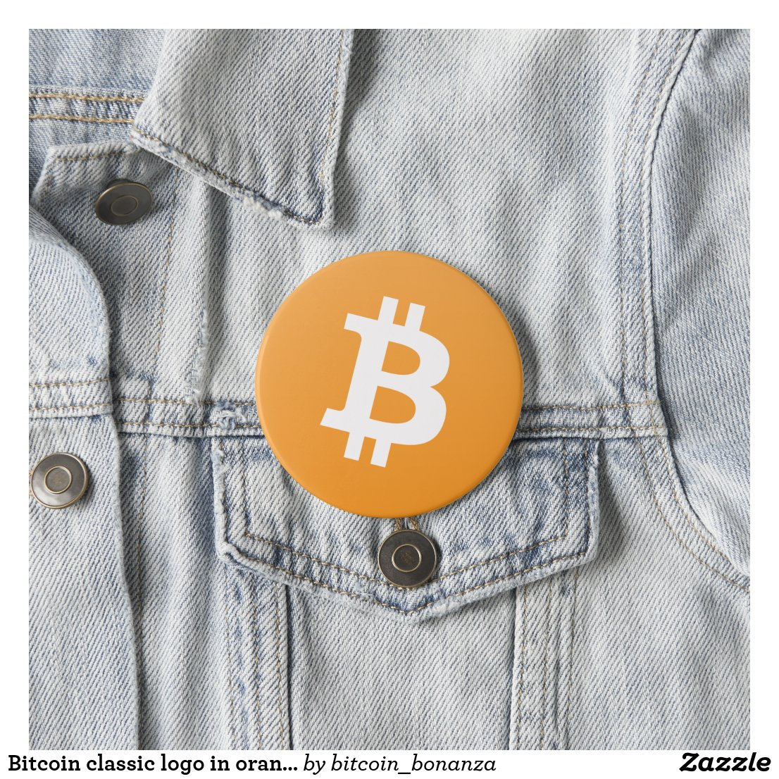Bitcoin classic logo in orange and white pinback button