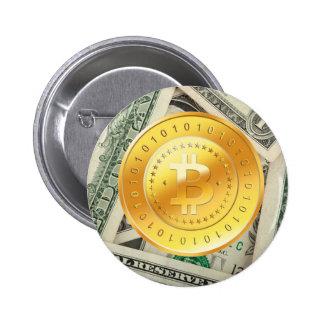 Bitcoin en el dinero pin redondo 5 cm