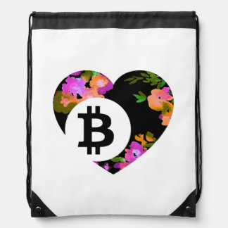 BITCOIN/FLORAL HEART-Drawstring Bag