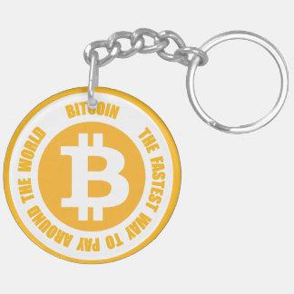 Bitcoin la manera más rápida de pagar en todo el llavero redondo acrílico a doble cara