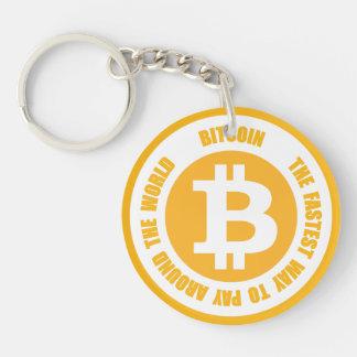 Bitcoin la manera más rápida de pagar en todo el llavero redondo acrílico a una cara