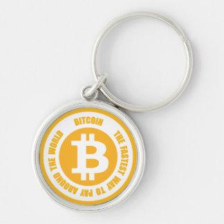 Bitcoin la manera más rápida de pagar en todo el llavero redondo plateado