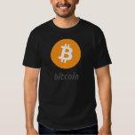 Bitcoin logo con escritura playeras