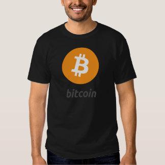 Bitcoin logo con escritura polera