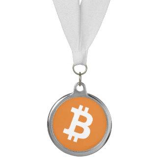 Bitcoin logo money sign medal with ribbon